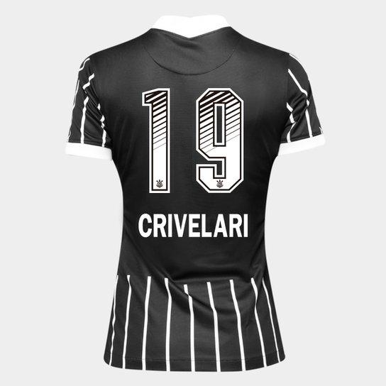 Camisa Corinthians II 20/21 - Crivelari N° 19 - Torcedor Nike Feminina - Preto+Branco