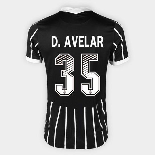 Camisa Corinthians II 20/21 - D. Avelar Nº 35 - Torcedor Nike Masculina - Preto+Branco