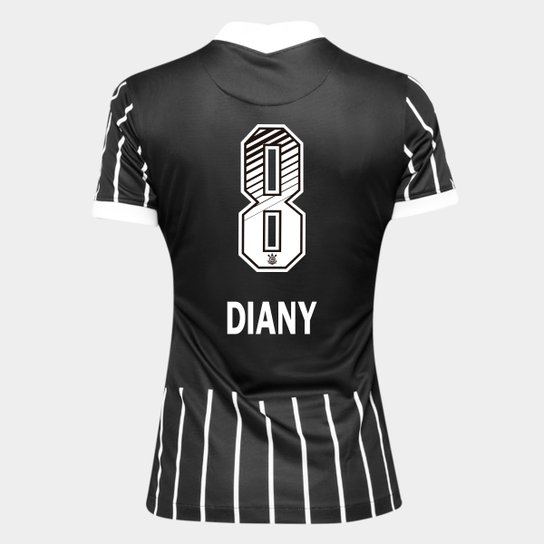 Camisa Corinthians II 20/21 - Diany N° 8 - Torcedor Nike Feminina - Preto+Branco