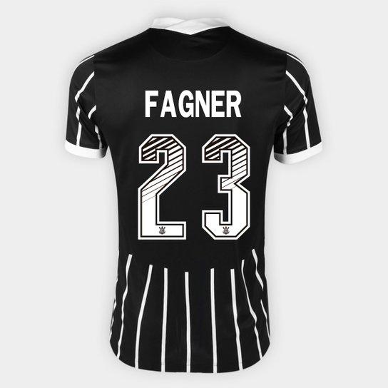 Camisa Corinthians II 20/21 - Fagner Nº 23 - Torcedor Nike Masculina - Preto+Branco