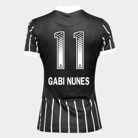 Camisa Corinthians II 20/21 - Gabi Nunes N° 11 - Torcedor Nike Feminina - Preto+Branco