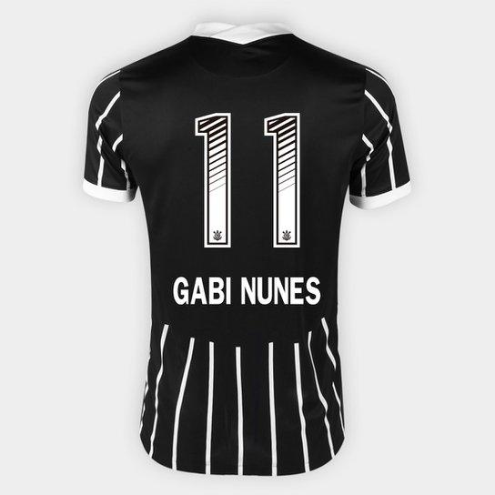 Camisa Corinthians II 20/21 - Gabi Nunes N° 11 - Torcedor Nike Masculina - Preto+Branco