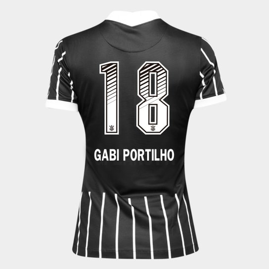 Camisa Corinthians II 20/21 - Gabi Portilho N° 18 - Torcedor Nike Feminina - Preto+Branco