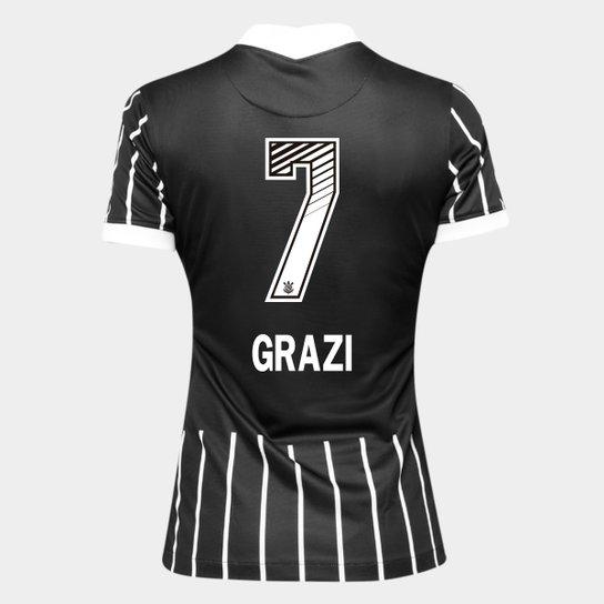 Camisa Corinthians II 20/21 - Grazi N° 7 - Torcedor Nike Feminina - Preto+Branco