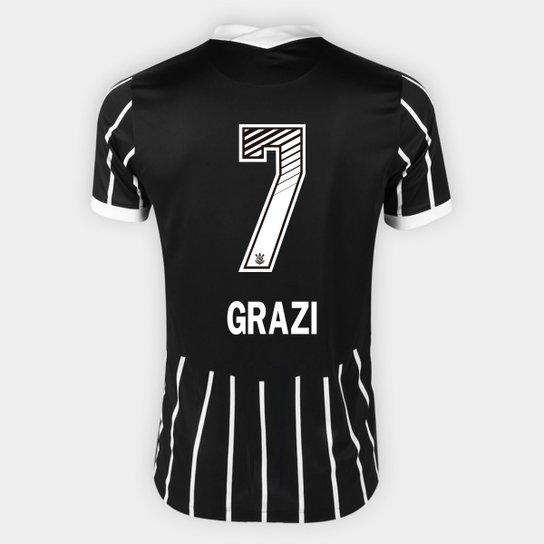 Camisa Corinthians II 20/21 - Grazi N° 7 - Torcedor Nike Masculina - Preto+Branco