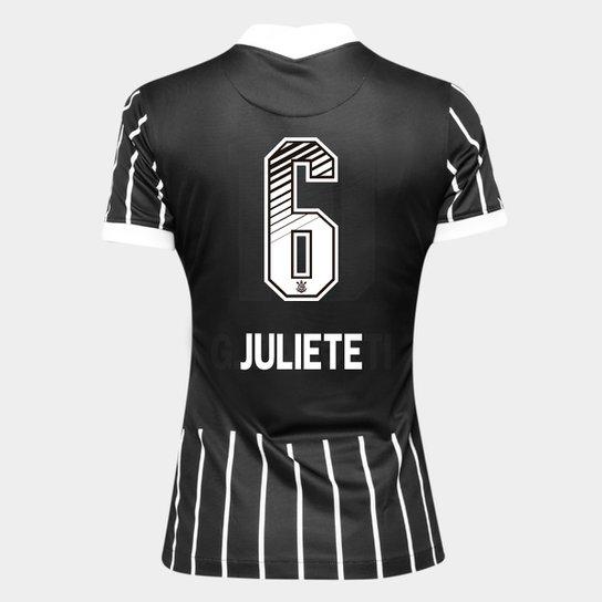 Camisa Corinthians II 20/21 - Juliete N° 6 - Torcedor Nike Feminina - Preto+Branco