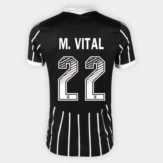 Camisa Corinthians II 20/21 - M. Vital Nº 22 - Torcedor Nike Masculina - Preto+Branco
