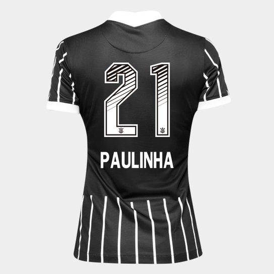 Camisa Corinthians II 20/21 - Paulinha N° 21 - Torcedor Nike Feminina - Preto+Branco