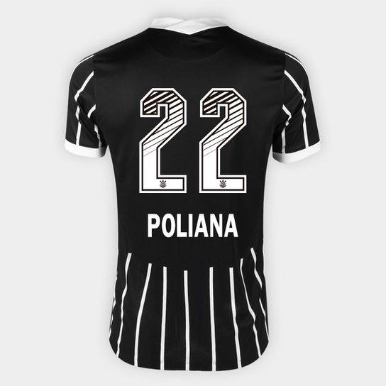 Camisa Corinthians II 20/21 - Poliana N° 22 - Torcedor Nike Masculina - Preto+Branco