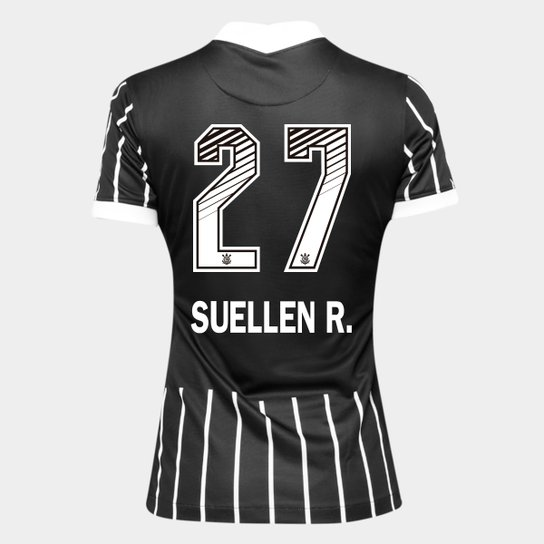 Camisa Corinthians II 20/21 - Suellen R. N° 27 - Torcedor Nike Feminina - Preto+Branco