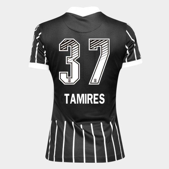 Camisa Corinthians II 20/21 - Tamires N° 37 - Torcedor Nike Feminina - Preto+Branco
