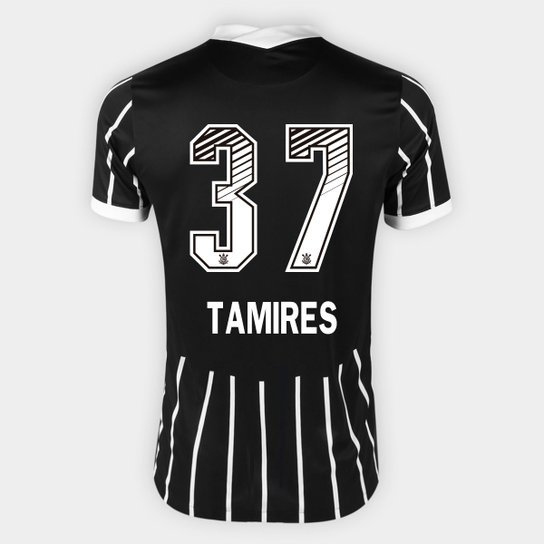 Camisa Corinthians II 20/21 - Tamires N° 37 - Torcedor Nike Masculina - Preto+Branco