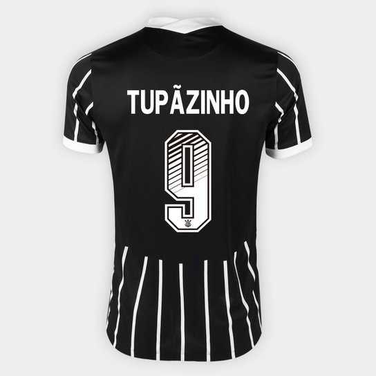 Camisa Corinthians II 20/21 - Tupãzinho Nº 9 - Torcedor Nike Masculina - Preto+Branco