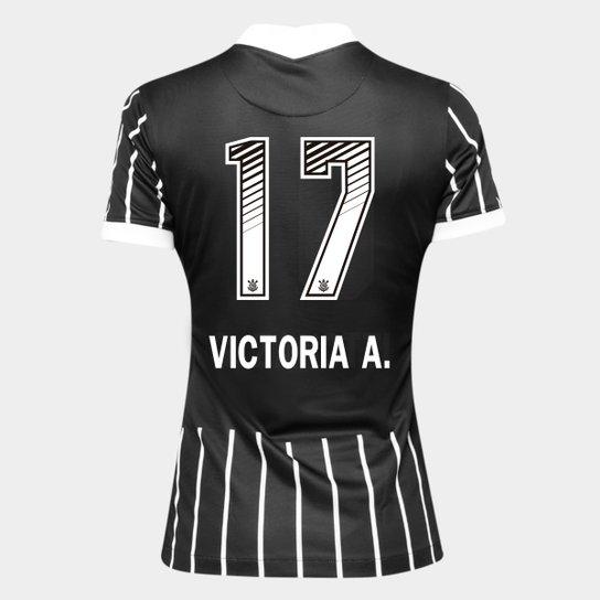 Camisa Corinthians II 20/21 - Victoria A. N° 17 - Torcedor Nike Feminina - Preto+Branco