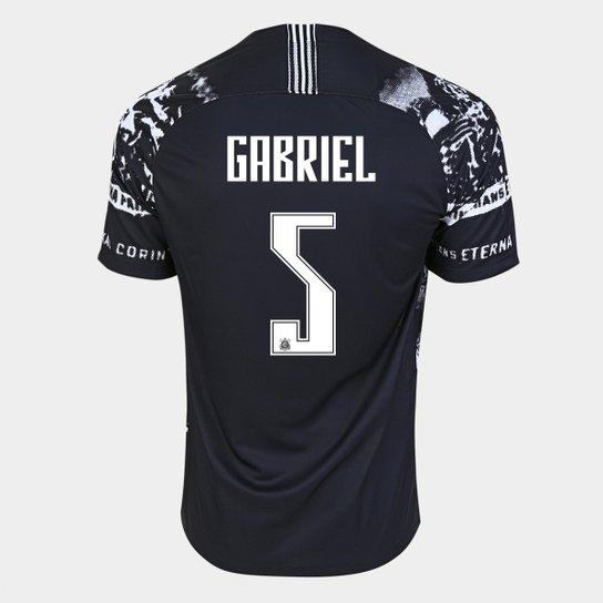 Camisa Corinthians III 19/20 Gabriel Nº 5 - Torcedor Nike Masculina - Preto+Branco