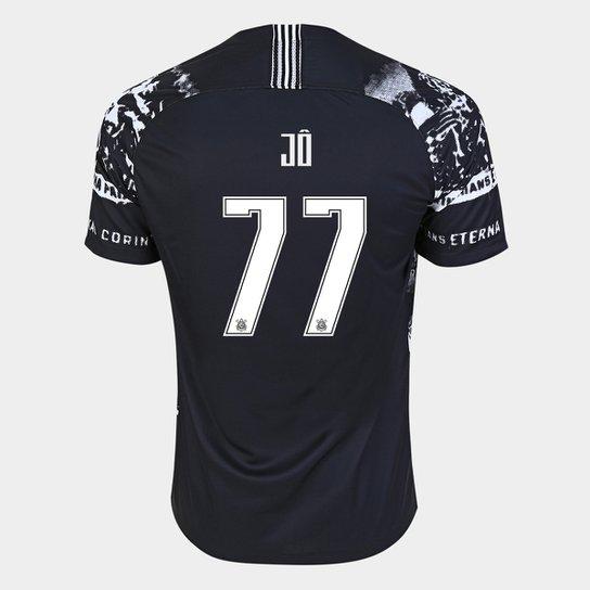 Camisa Corinthians III 19/20 - Jô Nº 77 - Torcedor Nike Masculina - Preto+Branco