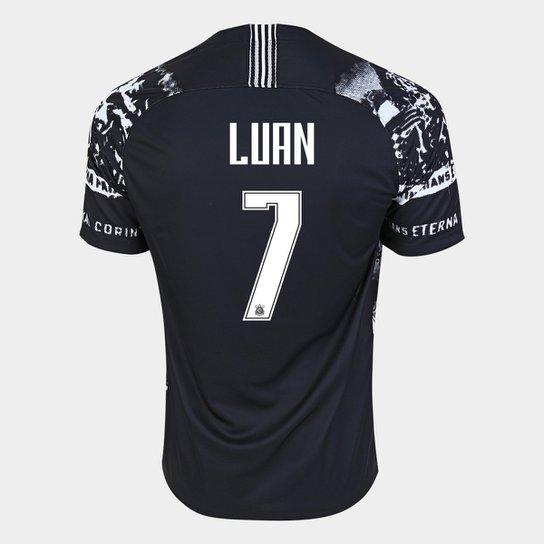 Camisa Corinthians III 19/20 Luan Nº 7 - Torcedo Nike Masculina - Preto+Branco
