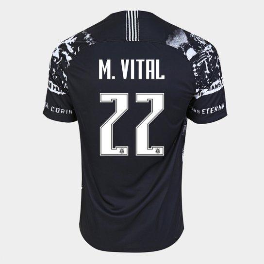 Camisa Corinthians III 19/20 M. Vital Nº  22 - Torcedor Nike Masculina - Preto+Branco