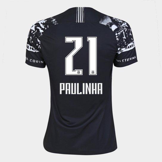 Camisa Corinthians III 19/20 - Paulinha N° 21 - Torcedor Nike Feminina - Preto+Branco