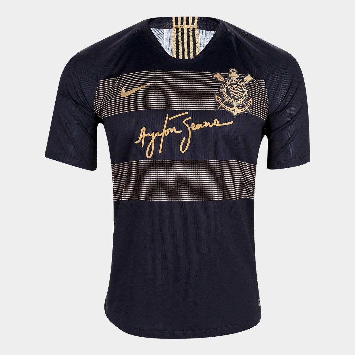 Camisa Corinthians III 2018 s n° - Jogador Nike Masculino - Preto+Dourado 8b232ed8b8bc9