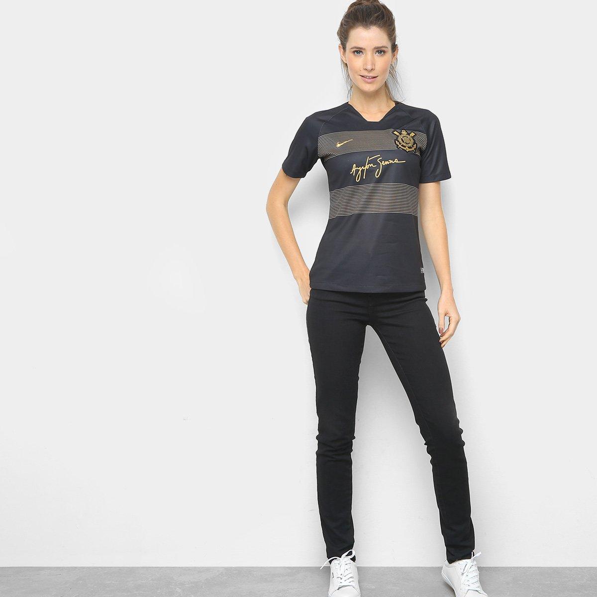 Camisa Corinthians III 2018 s n° - Torcedor Nike Feminina - Preto e ... 2f9486627ad59