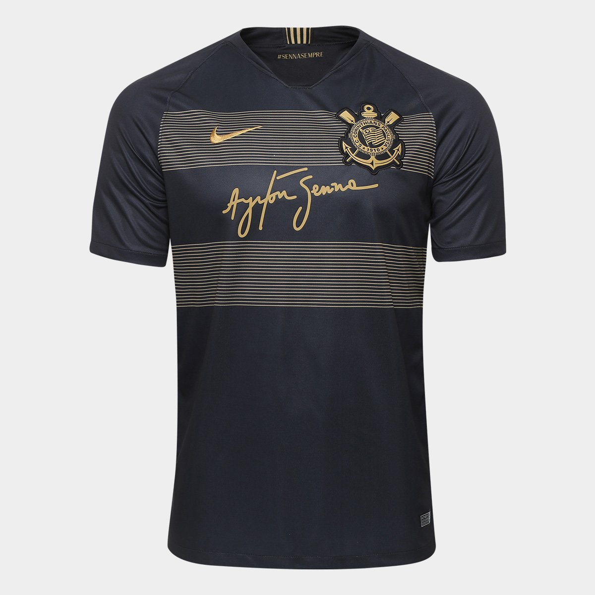 Camisa Corinthians III 2018 s n° - Torcedor Nike Masculina - Preto+Dourado ac761c44e7383