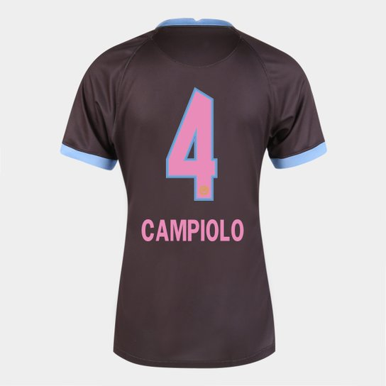 Camisa Corinthians III 20/21  Campiolo N° 4 Torcedor Nike Feminina - Marrom+Azul