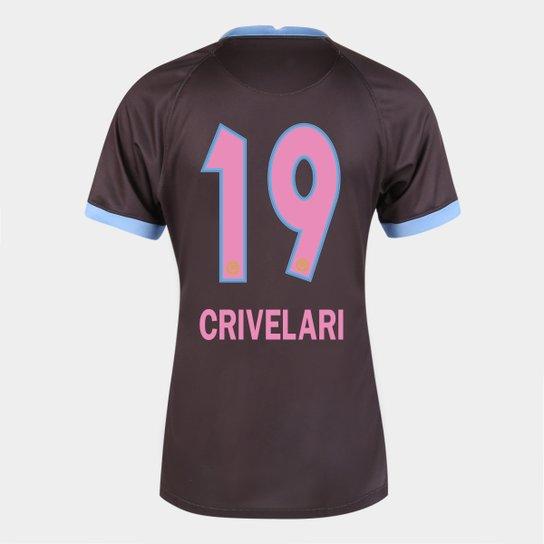 Camisa Corinthians III 20/21  Crivelari N° 19 Torcedor Nike Feminina - Marrom+Azul