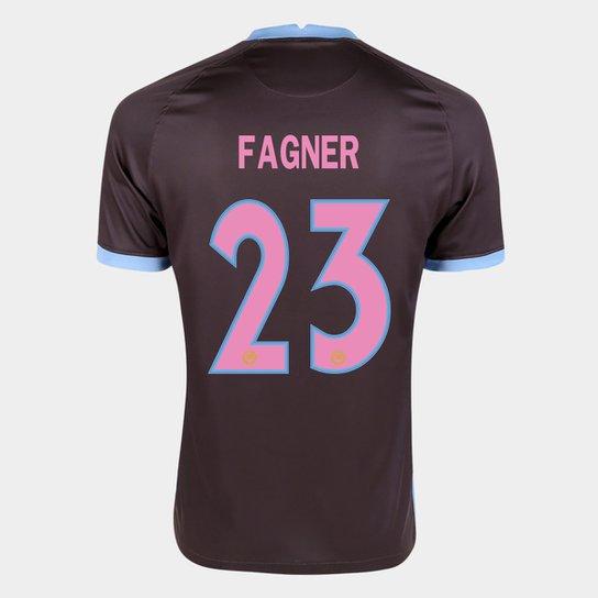Camisa Corinthians III 20/21 Fagner Nº  23 Torcedor Nike Masculina - Marrom+Azul