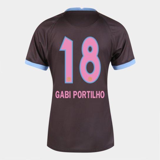 Camisa Corinthians III 20/21  Gabi Portilho N° 18  Torcedor Nike Feminina - Marrom+Azul
