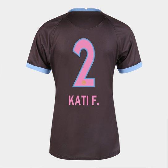 Camisa Corinthians III 20/21  Kati F.  N° 2  Torcedor Nike Feminina - Marrom+Azul