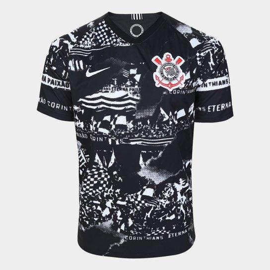 Camisa Corinthians III Invasões 19/20 Torcedor s/nº Nike Masculina - Preto+Branco