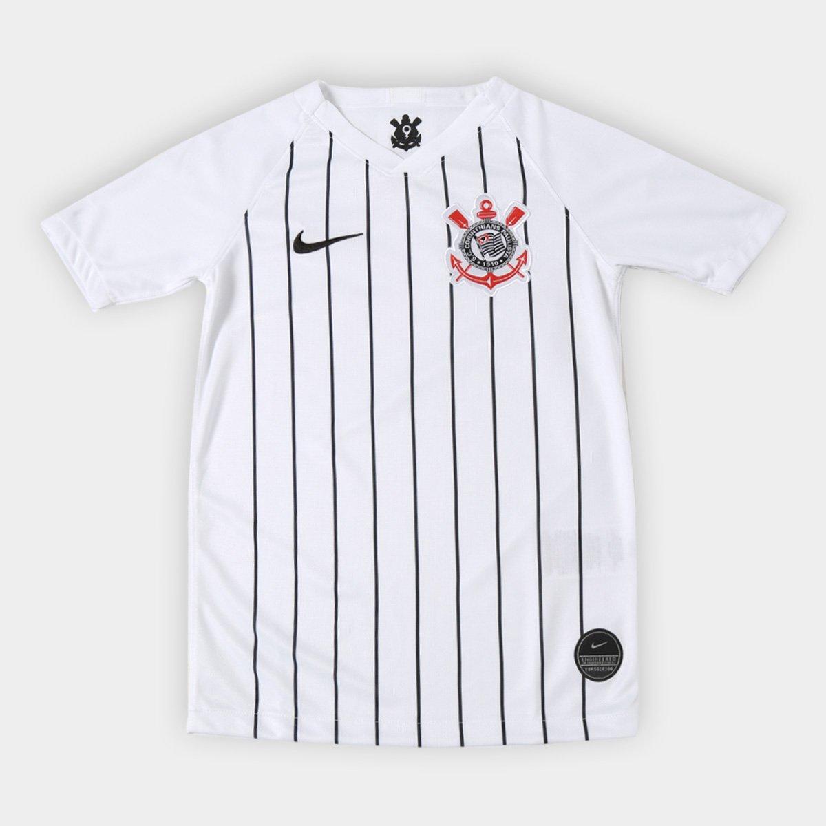 eeeb6d5dbde7f Camisa Corinthians Infantil I 19/20 s/nº Torcedor Nike - Branco e Preto    Shop Timão