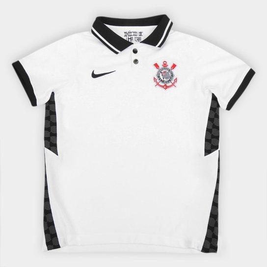 Camisa Corinthians Infantil I 20/21 s/n° Torcedor Nike - Branco+Preto