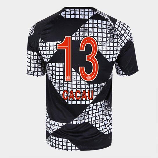 Camisa Corinthians IV 20/21 Cacau N°13 Nike Masculina - Preto+Branco