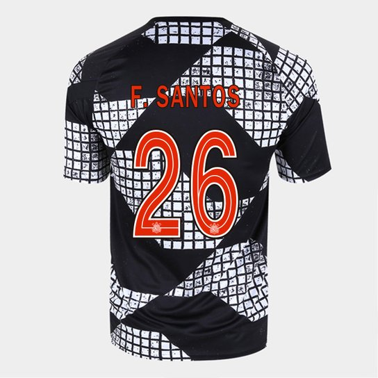 Camisa Corinthians IV 20/21 F. Santos Nº 26 Nike Masculina - Preto+Branco