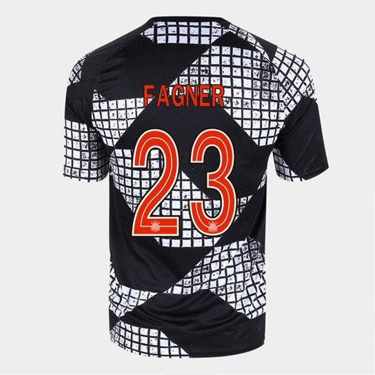 Camisa Corinthians IV 20/21 Fagner Nº 23 Nike Masculina - Preto+Branco
