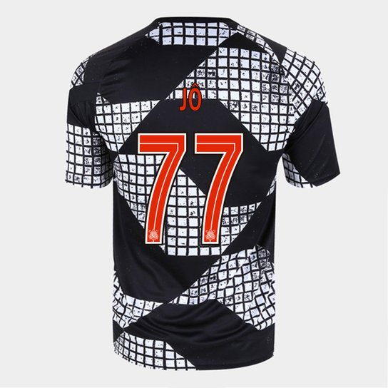 Camisa Corinthians IV 20/21 Jô Nº 77 Nike Masculina - Preto+Branco
