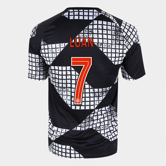 Camisa Corinthians IV 20/21 Luan Nº 7 Nike Masculina - Preto+Branco