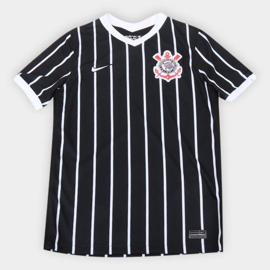 Camisa Corinthians Juvenil II 20/21 s/n° Torcedor Nike - Preto+Branco
