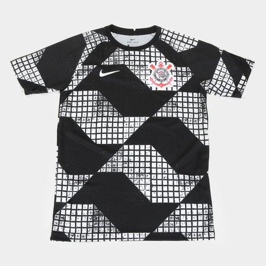 Camisa Corinthians Juvenil IV 20/21 Nike - Preto+Branco