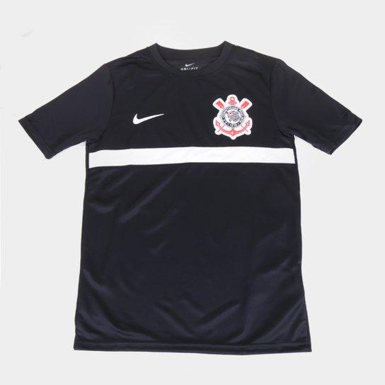 Camisa Corinthians Juvenil Treino 20/21 Nike - Preto+Branco
