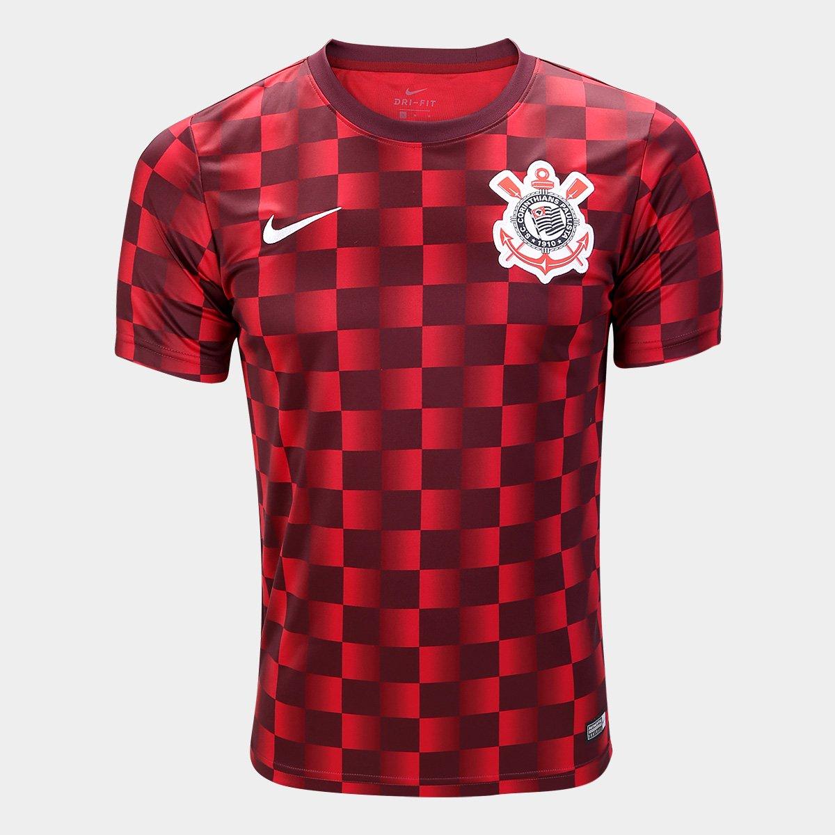 0eadc9acd3 Camisa Corinthians Pré Jogo 19 20 Nike Masculina - Marrom e Vermelho ...