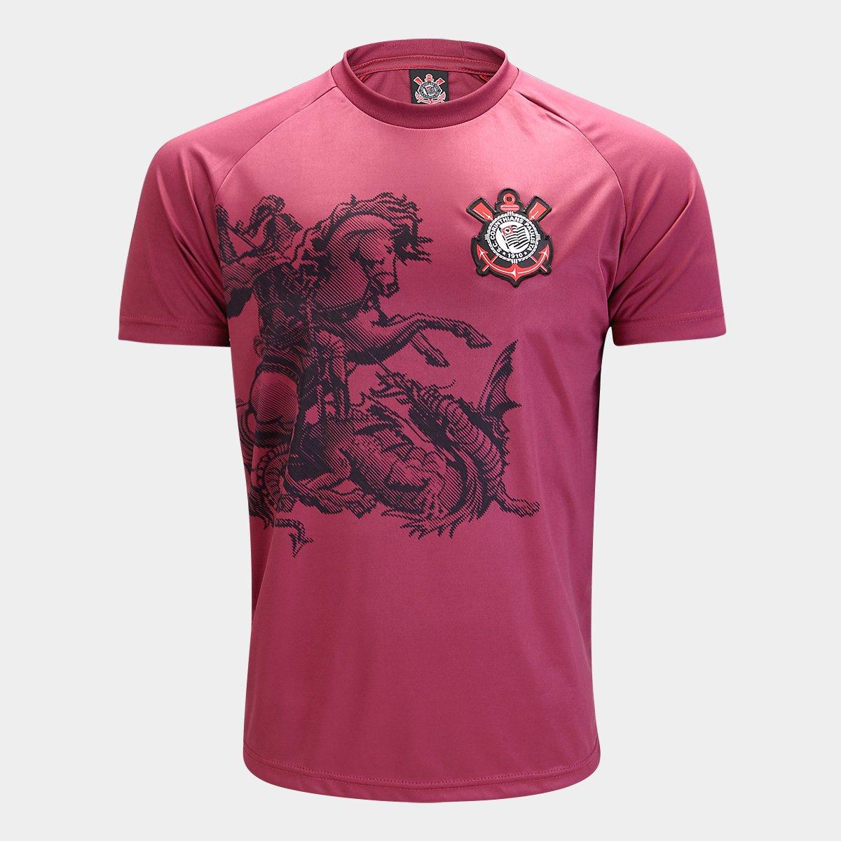 Camisa Corinthians São Jorge Edição Limitada C  Patch Masculina - Vinho 62649aed8d2f6