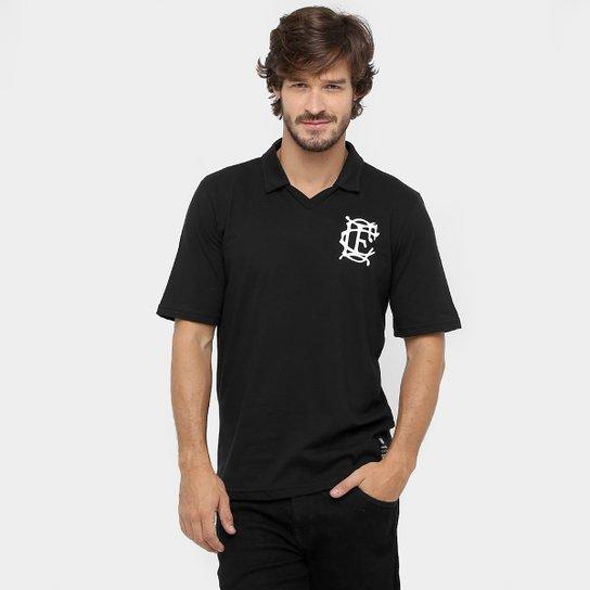 Camisa Polo Corinthian-Casuals Retrô Masculina - Preto