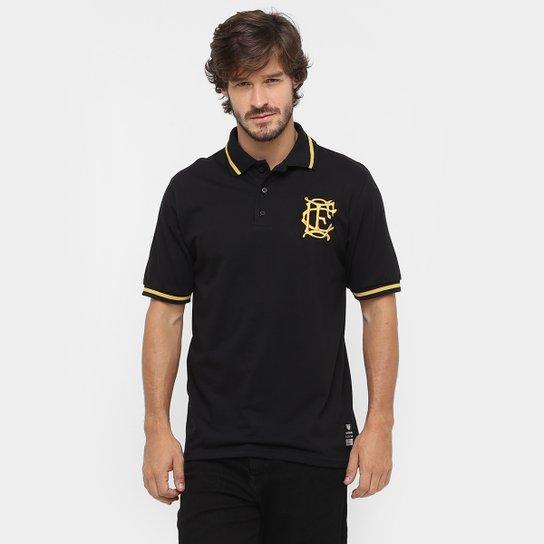 Camisa Polo Corinthian-Casuals Retrô Ouro Masculina - Preto