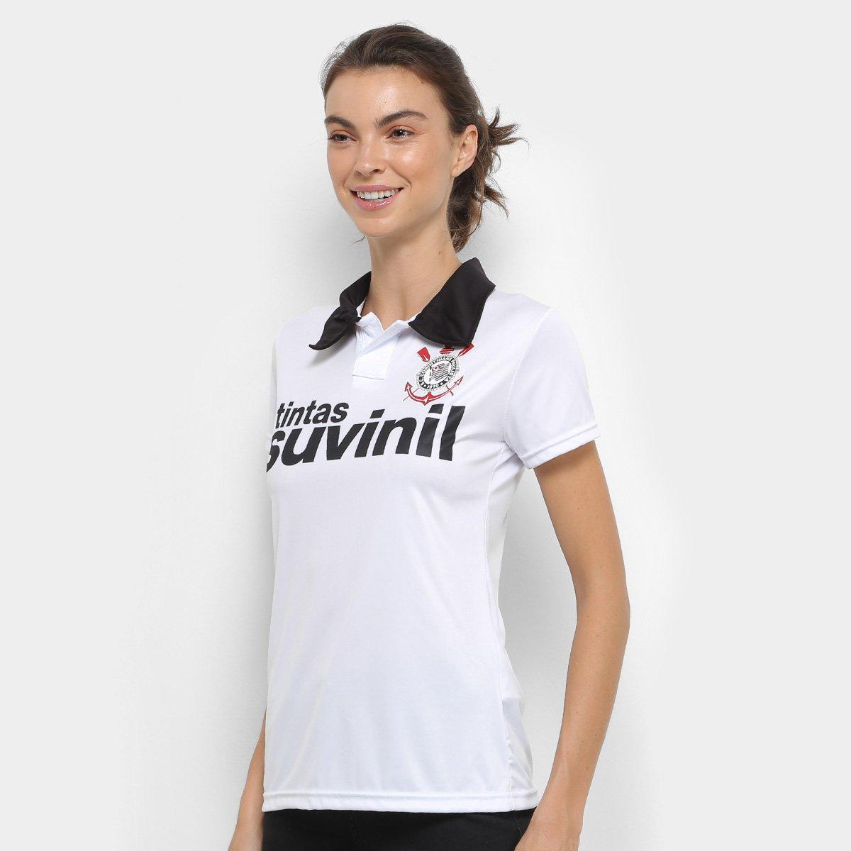 Camisa Polo Corinthians 1995 n° 9 Feminina - Branco e Preto - Compre ... 482d11b2cbf0e