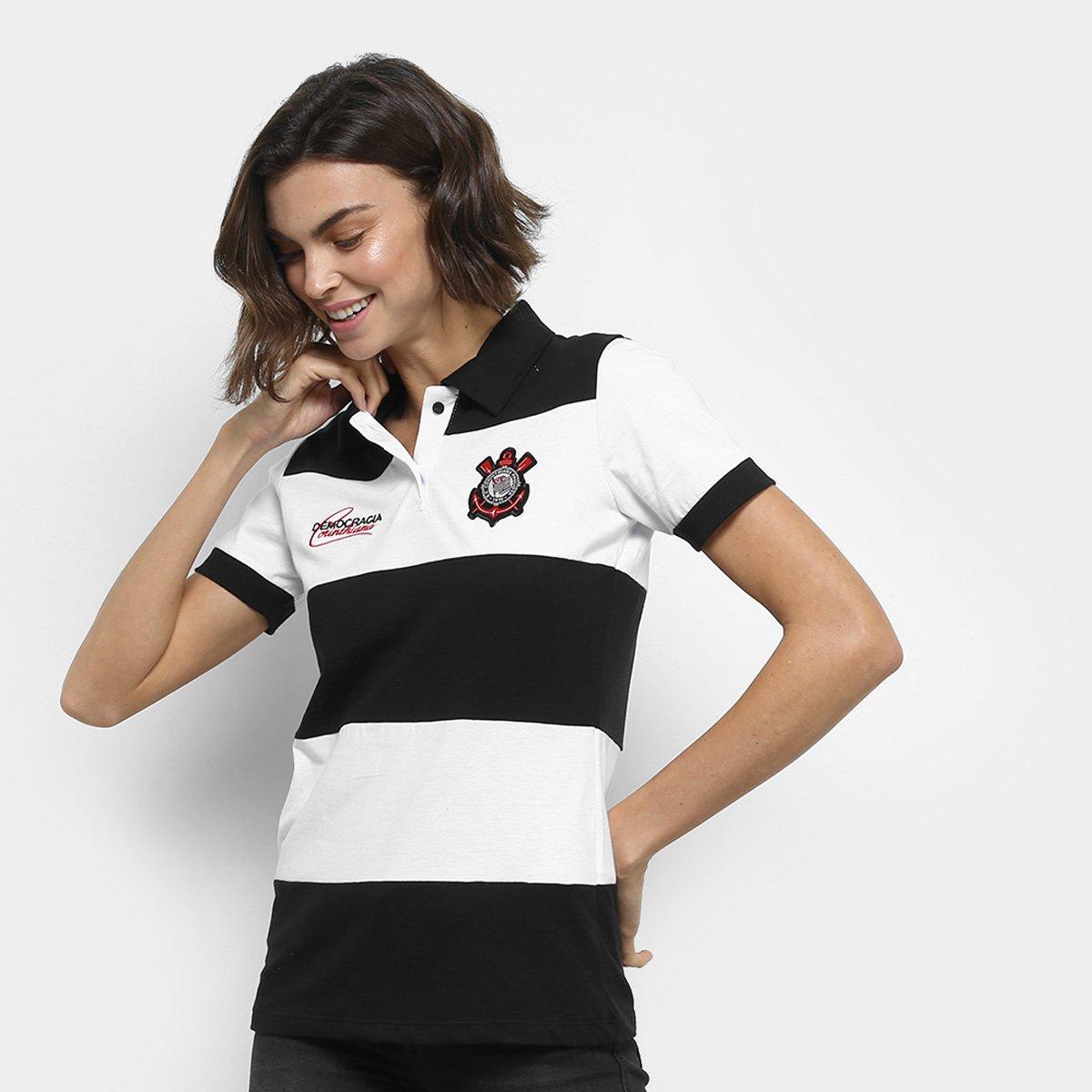 Camisa Polo Corinthians Democracia 1982 Feminina - Preto e Branco ... 7987bf492644e