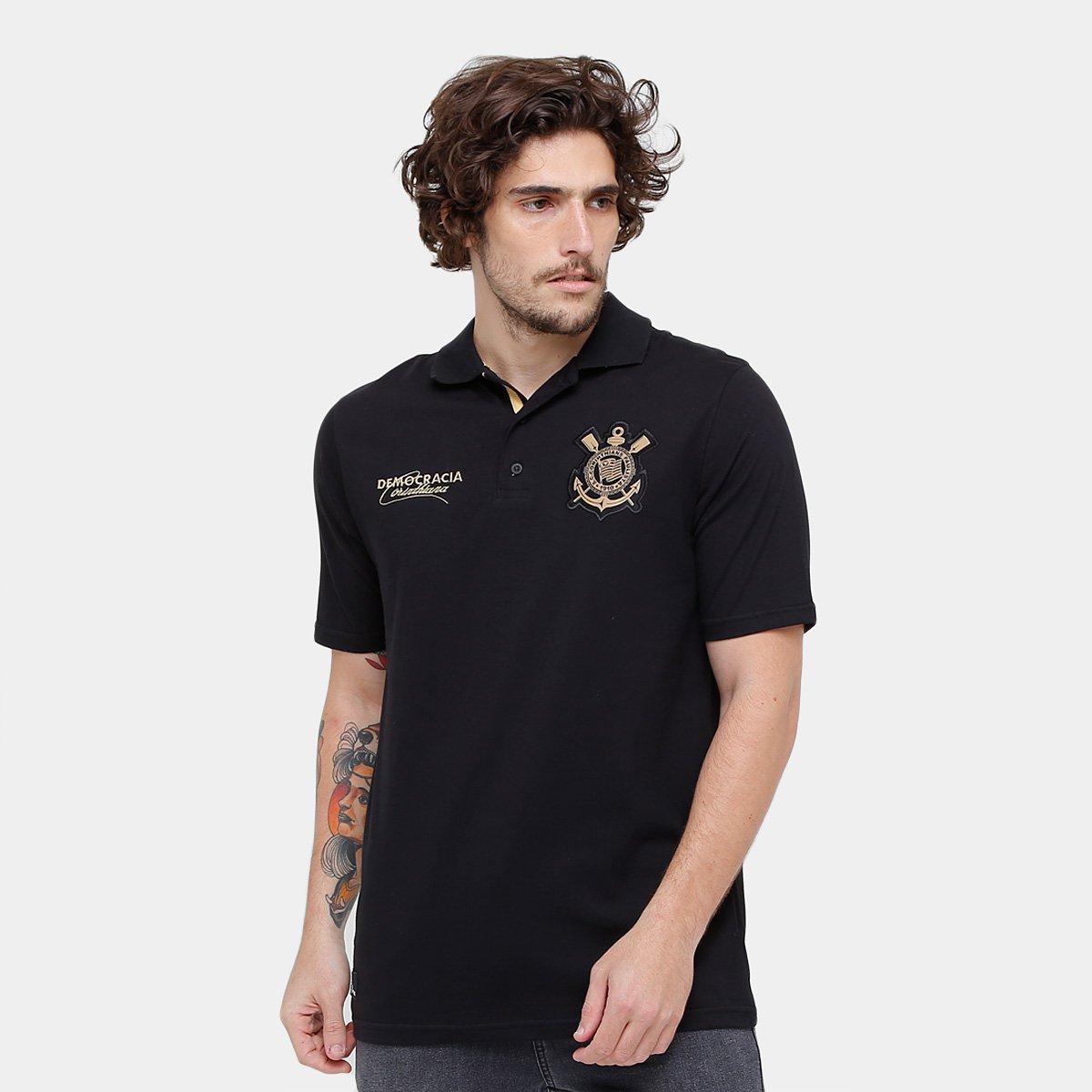 Camisa Polo Corinthians Democracia Corintiana Sócrates Masculina - Preto 7c5548790470c