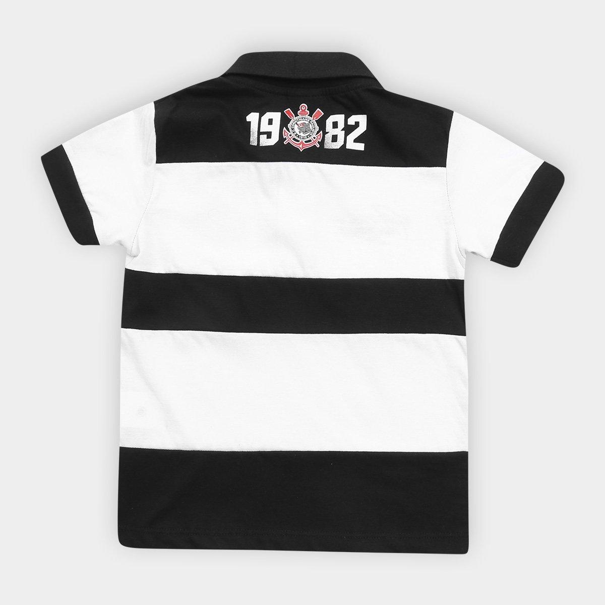 Camisa Polo Infantil Corinthians Democracia 1982 - Preto e Branco ... e59c547231b09